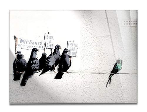 Giallobus - Schilderij - Klaar om op te hangen - Afdrukken op Acrylglas Plexiglas - Banksy - Duiven - moderne schilderijen home design meubels - slaapkamer - diverse maten XXL - 70x50 cm