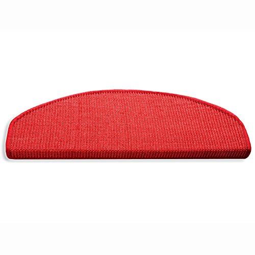 Floordirekt 15 x Teppich Stufenmatten Treppenstufen | 100% Sisal | wohnlichen Farben | rutschsicher für Mensch und Tier (Maße ca. 64 x 23,5 cm) (Rot)