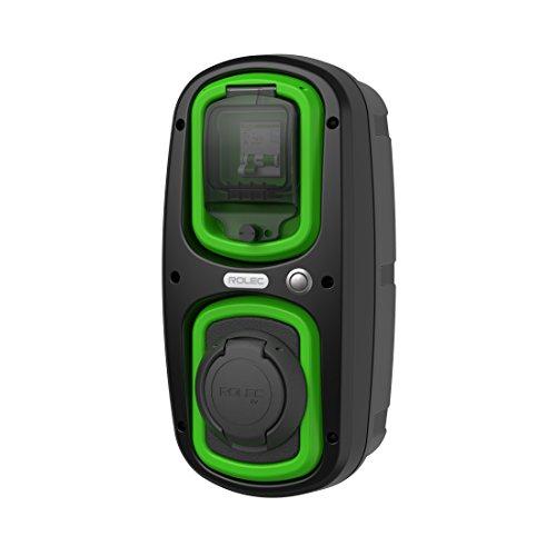 EV OneStop eenvoudige, voordelige EV/Electroauto-laadstation, wandpod-laadstation, 32 amp, type 2-stopcontact – kleur zwart/groen