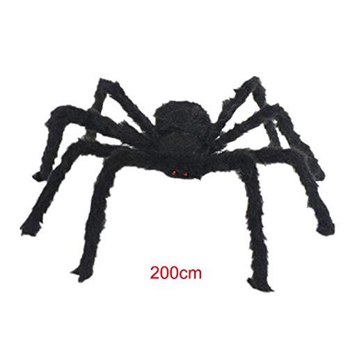 WenYOUNG - Araña negra de 125 cm para decoración de casa encantada, plegable, 172 g, Negro 78.7inch, 78.7inch