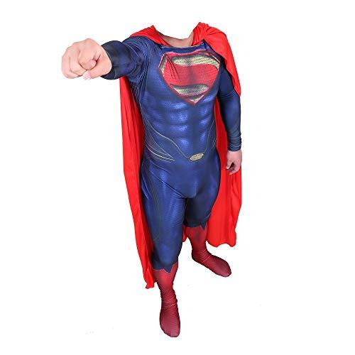 TOYSSKYR Disfraz de superhroe de Halloween de pelcula clsica de Superman, cuerpo de acero, para cosplay, Navidad, lycra, para adultos, nios, hombre y mujer (color: sin capa, talla: XXL)
