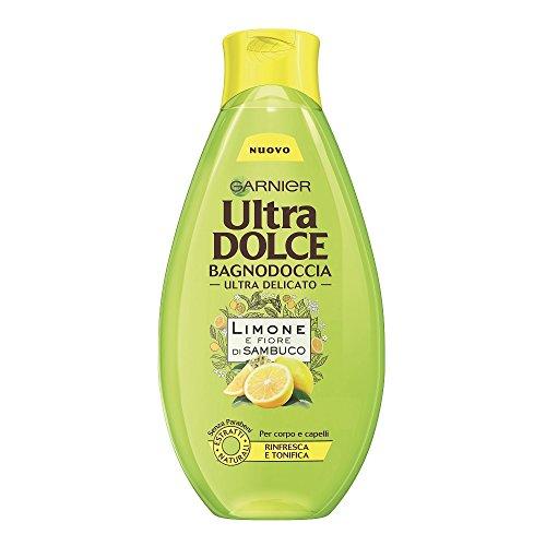 Garnier Ultra Dolce Limone e Fiore Di Sambuco Bagnodoccia Tonificante Pelle Fresca e Morbida, 500 ml