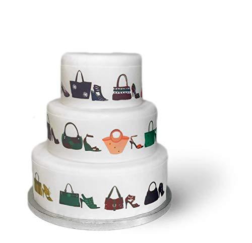 Essbare Kuchenverzierung für große Kuchen, Motiv: Schuhe & Handtaschen, Randverzierung mit Schleife, perfekt zur Dekoration, einfache Handhabung