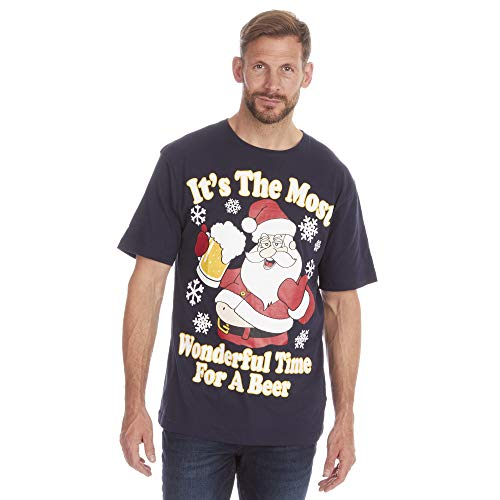 Fruit of the Loom Herren-T-Shirt mit Weihnachtsmotiv, aus Baumwolle Gr. XXXXX-Large, Bier
