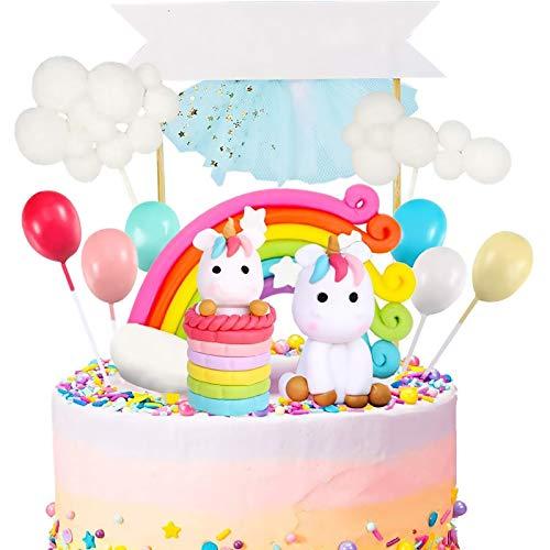 GOLDGE 25pz Decoracion Tarta Unicornio para Niños, Toppers para Tartas Happy Birthday Globos Arcoiris Estrella Cake Fiesta de La Fiesta para Cumpleaños Boda