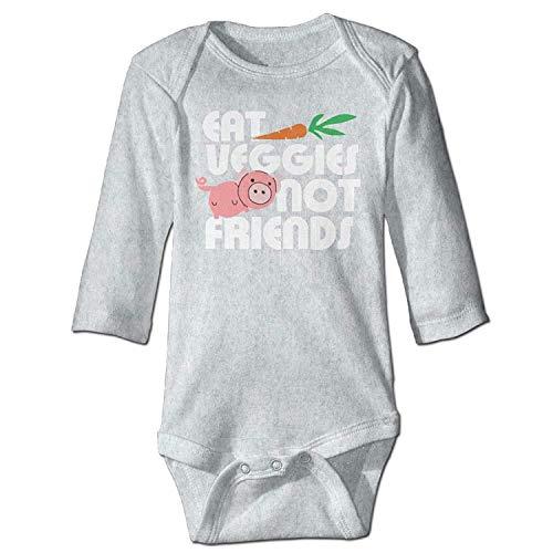 Unisex Newborn Bodysuits Eat Veggies Not Friends Boys Babysuit Long Sleeve Jumpsuit Sunsuit Outfit Ash