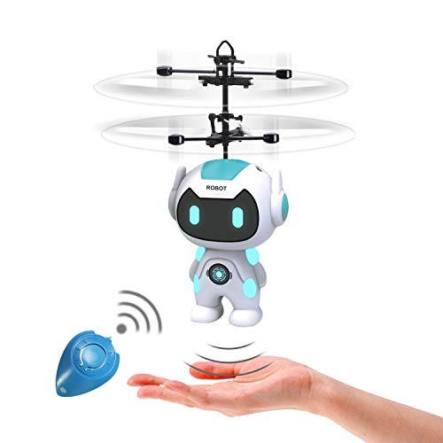 Flying Toys Ball Drones Robot Toys - Infrared Induction RC Flying Toy Built-in LED Light Helicopter Mini Drone Indoor and Outdoor Games Toys for Kids Boys Girls 6 7 8 9 10 Year Old Gifts,White