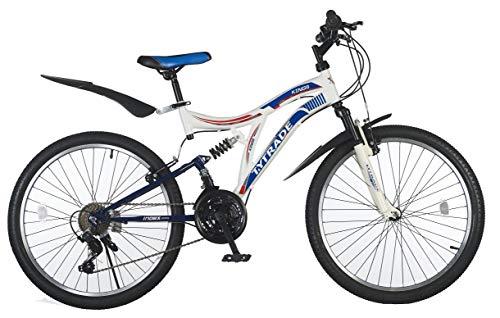 T&Y Trade 24 Zoll Kinder Jugend Jungen Mädchen Fahrrad Kinderfahrrad MTB Mountainbike Jugendfahrrad Bike Rad 21 Shimano Gang Vollfederung Fully Kings Weiß Weiss BLAU