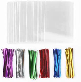 J1L 200 Treat Bags (6x9 In) with 200 Twist Ties (4 In, 6 Mix Colors), Crystal Clear Cellophane Treat Bags, Great Party Favor Bags for Candies, Cookies, Chocolates, All Your DIY Gifts