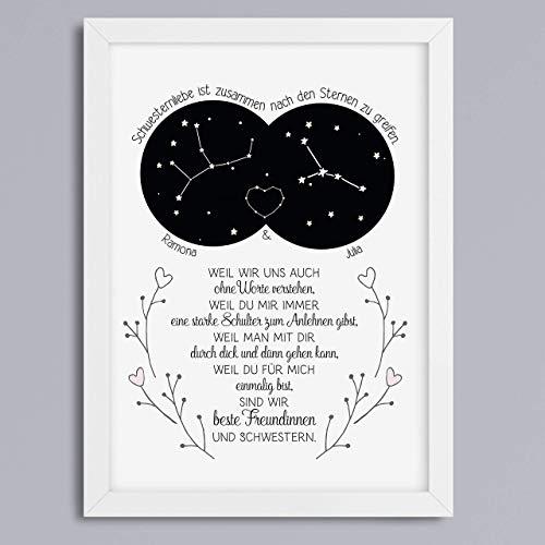 Kunstdruck Schwestern Sternzeichen personalisiert Geschenk für beste Schwester optional mit Rahmen