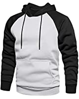 TOLOER Mens Hoodies Pullover - Contrast Color Casual Hoodie for Men - Sports Outwear Sweatshirts Grey Black Large