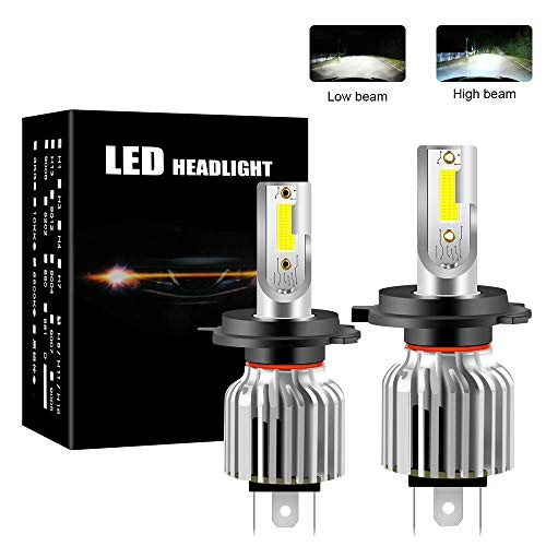 Chemini Bombilla de faro LED H4, foco bajo/alto, diseño de bombilla halógena 1: 1, chip COB de alto brillo 6000K blanco 60W