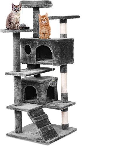 Weico Premium Katzen Kratzbaum mit Sisal - Kletterbaum mit Kuschel und Spielmöglichkeiten - Katzenkratzbaum in grau - Spielbaum mit Plattformen und Spielmöglichkeiten (braun)