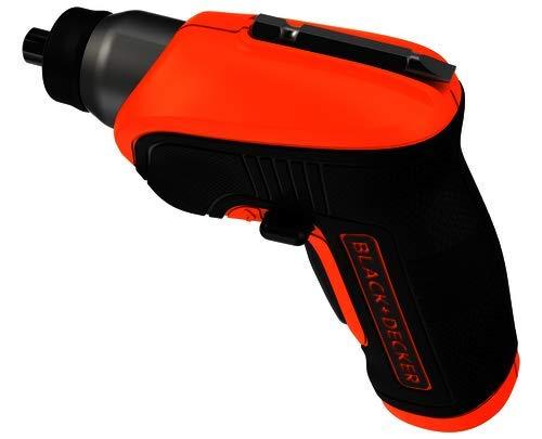 BLACK+DECKER - Tournevis Electrique CS3652LCAT-QW - 3.6V, 180 tr/min, 5.5 Nm, Lampe LED Intégrée, Orange - 1 Tête à Angle, 1 Boite Métallique, 20 Embouts de Vissage, 1 Chargeur