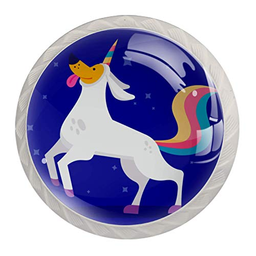 Perillas de gabinete de cocina Perillas decorativas redondas Gabinete Cajones de armario Tirador de tocador 4PCS Unicorn Dog Blue