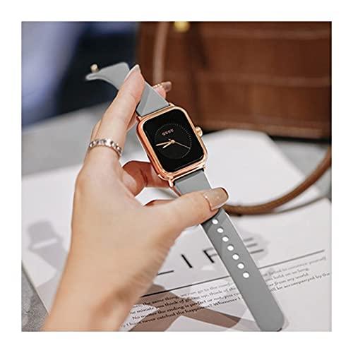 Yokbeer Relojes de Pulsera para Mujer, Esfera Rectangular, Correa de Silicona Sencilla y Elegante, Reloj de Pulsera de Cuarzo Clásico (Color : Gray)