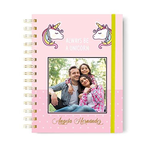 Onepersonal - Libreta Personalizada de Tapa dura con Diseño Unicornio | Cuaderno Personalizable con Stamping para Añadir Foto y Nombre en Oro o Plata