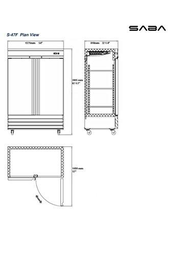 Commercial Solid Stainless Steel Door Reach-In Freezer 47 cu ft