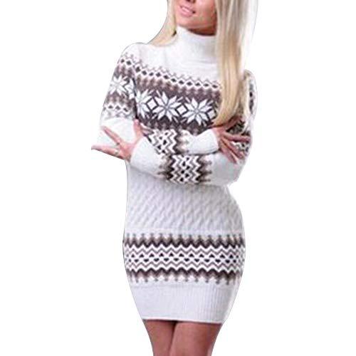 Shujin Damen Herbst Winter Weihnachtspullover Sweater Strickkleid Warm Strickpullover Lang Rollkragen Slim Fit Pulloverkleid mit Schneeflocken Printed
