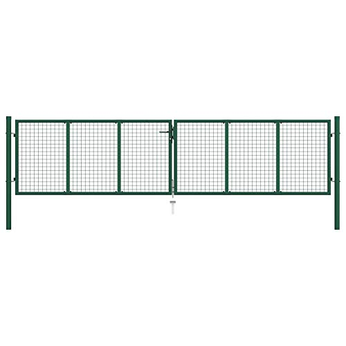 Garden Fence Mesh Gate,Galvanised Steel with Powder-Coated Finish Dark Green,Post: Φ 78 mm,Against Rust and Corrosion,by BIGTO(3 Keys) (Total Size:415 x 175 cm,Door Size:400 x 125 cm)