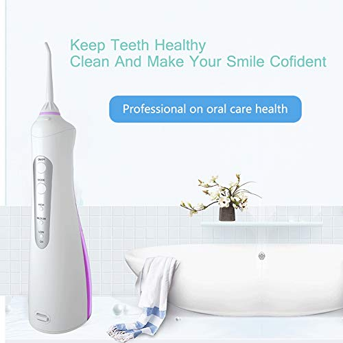 Cordless Water Flosser Teeth Cleaner, High Plus Rechargable Portable Oral Irrigator for Travel, Braces & Bridges Care,IPX7 Waterproof with 3 Modes Jet Tips, Best Gifts for Family,Purple