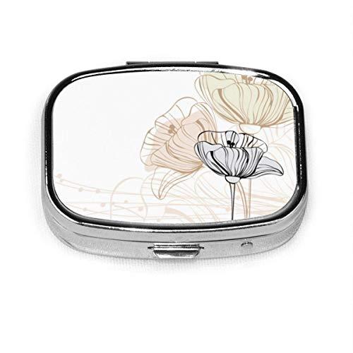 Floral Custom Fashion Silber Quadrat Pille Box Medizin Tablettenhalter Brieftasche Organizer Fall für Tasche oder Geldbörse