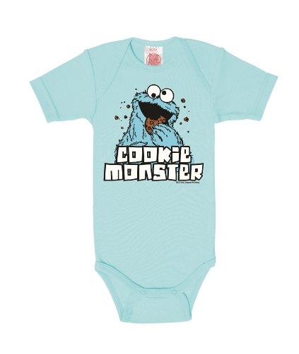 Logoshirt Body para bebé Monstruo de Las Galletas - Barrio Sésamo - Sesame Street - Cookie Monster - Pelele para bebé - Azul Claro - Diseño Original con Licencia, Talla 74/80, 7-12 Meses