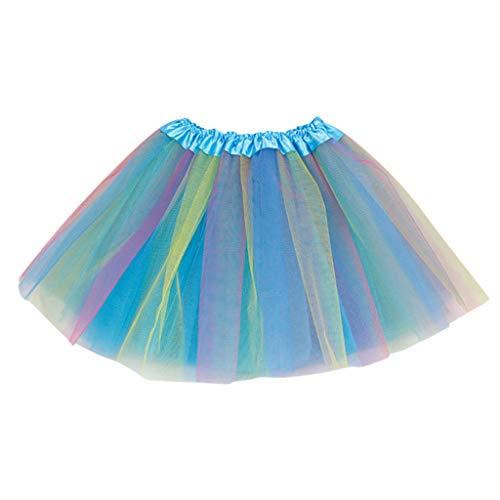 Lazzboy Karneval Kleinkind Kinder Mädchen Baby Multicolor Tutu Rock Tüll Ballett Outfits Kostüm Tüllrock Tütü Prinzessin Ballettrock Pettiskirt Minirock(Blau,2-8 Years Old)