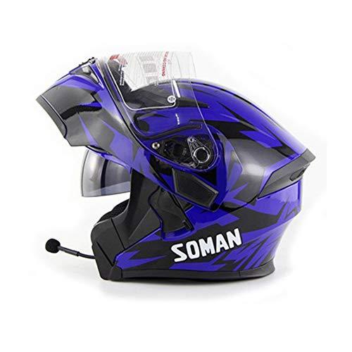 Unbekannt NF Motorrad Bluetooth Helm/Full Face Bluetooth Racing Motorradhelm Cromwell Helm Jet Doppelspiegel Modular Flip Helm,Blue,L