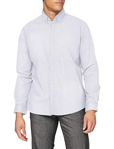 TOM TAILOR Herren Basic Print Stretch Hemd, 24487 - white blue crosses d, L