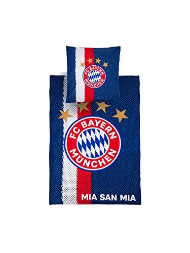 FC Bayern München Bettwäsche Logo blau weiß rot Decke: 135 x 200 cm; Kissen: 80 x 80 cm