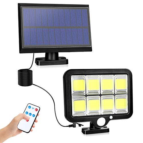 2NLF luce solare esterno,luci di sicurezza solare da giardino/sentiero con sensore di movimento,Lampade solari da esterno da Telecomando 5 m, solare IP65 impermeabile[energetica classe A +++]