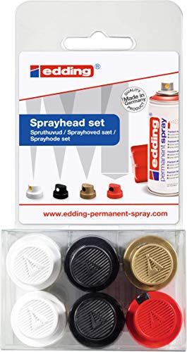 edding 5200 Permanent Spray Sprühkopf-Set – Set mit 6 Sprühköpfen – Austauschbare Sprühköpfe in 4 verschiedenen Sprühbreiten – Von feinen Linien (1 cm) bis zu großen Flächen (14 cm)