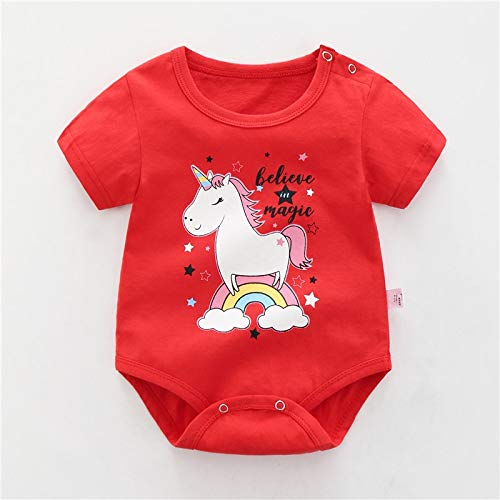 LiuQ Baby Strampler Neugeborenes Baby-Mädchen-Karikatur-Baumwollstrampler Baby-Baby-Tasche Fart Weste Overall Sommer-dünne Penguin Pyjamas Outfit (Color : Hongma, Kid Size : 6M)