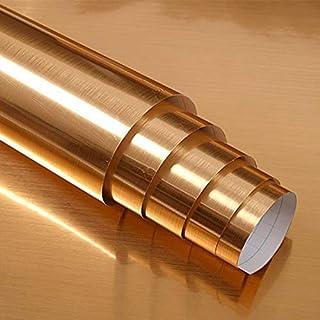 Hode Papel Adhesivo Rollo para Decorativos Vinilo Autoadhesivo Impermeable 40X300cm (Dorado)
