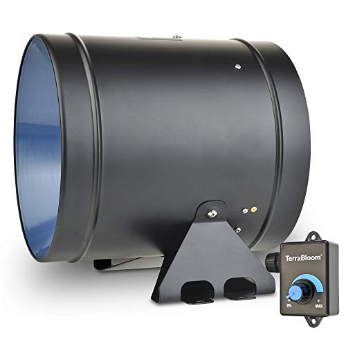 """TerraBloom ECMF-200, Quiet 8"""" Inline Duct Fan with 0-100% Variable Speed Controller, Air Tight Metal Casing, Energy Efficient EC Motor. Heating, Ventilation and Exhaust Blower For Large Spaces and Tents"""