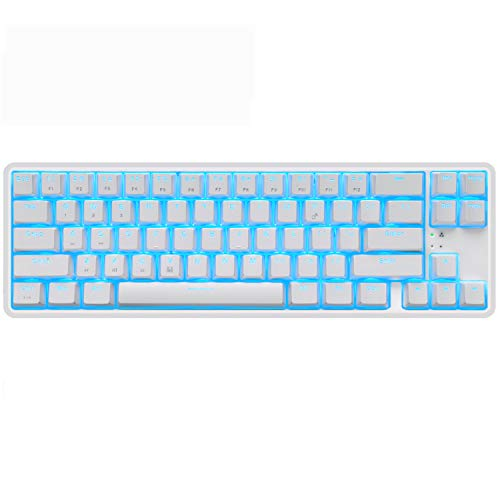 Wireless 60% Mechanical Gaming Keyboard,Ultra-Compact Blue Backlit Keyboard Bluetooth 4.0 Tepy C Wired/Wireless Blue Switches Computer Keyboard for Multi-Device iPhone Android Mobile PC Laptop(White)