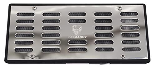 GERMANUS Humidificador de metal con casete de cristales, tamaño XL, color plateado