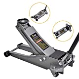 SUNCOO 3 Ton Floor Jack Stands Heavy Duty Quick Lift Ultra Low Profile Jack with Dual Pump Pistons & Reinforced Lifting Arm Fast Lift Service Jack for Cars Trucks & SUVs, Grey