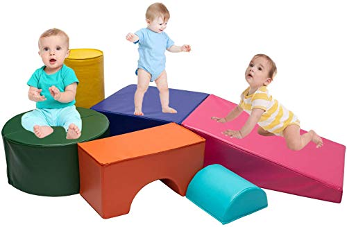 Go Beyond Softscape Crawl and Climb Foam Play Set, Lightweight Blocks Corner Climber, Nugget Couch for Toddlers, Children's Composite Toy for Crawling Climbing and Sliding (6PC Colourful)