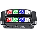 ZKYMZL Spider Moving Head Light LEDs Beam DJ Lights RGBW Sound Activated and DMX512 Control for Party Pub Disco Show Wedding Event Stage Lighting.