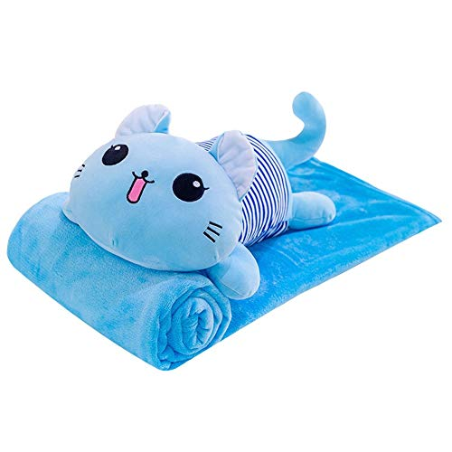 ZYBIN Blanket Cat Throw Pillow Car Backrest Office Nap Blanket Soft Cozy Microfiber Christmas Birthday Best for Gift (Color : Blue)