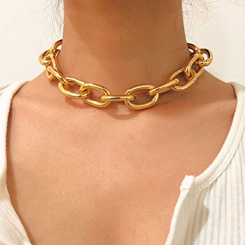 Salircon Cuban Chunky Chain Choker Necklace Punk Gold Tone Gorgeous Rhinestone Collar Necklace for Women Girls