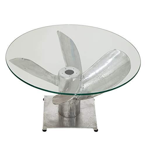 Invicta Interior Maritimer Couchtisch Ocean M 60cm Silber antik mit Schiffsschraube und Glasplatte Wohnzimmertisch Glastisch Tisch
