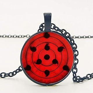 VAWAA Naruto Sharingan Shippuuden Eye Pendentif Collier Cha/îne Noire Vintage Collier Hommes Cadeaux pour Enfants.