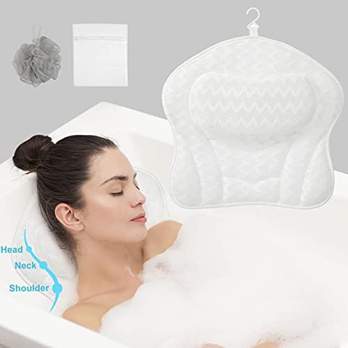 COSYLAND Almohadas de Baño Accesorios de Baño con Tecnología 3D Air Mesh y 6 Fuertes Ventosas, Almohadas de Baño para Soporte de Cabeza, Cuello y Hombros para Bañera y SPA en Casa, Secado Rápido