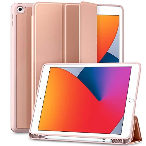 Maledan Hülle für iPad 8 Generation/iPad 10.2 Hülle 2020 mit Stifthalter, Smart Folio Weich TPU Schutzhülle für iPad 8./7. Generation 2020/2019 [Auto Schlaf/Weckfunktion] - Rosa