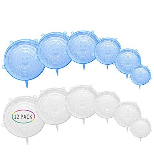 MojiDecor Dehnbare Silikondeckel, 12er Silikondeckel in Verschiedenen Größen Silikon Stretch Deckel mit LFGB Zertifizierung , Sicher und Gesund Stretch Lid Frischhalte für Schüsseln,Becher,Dosen,Obst