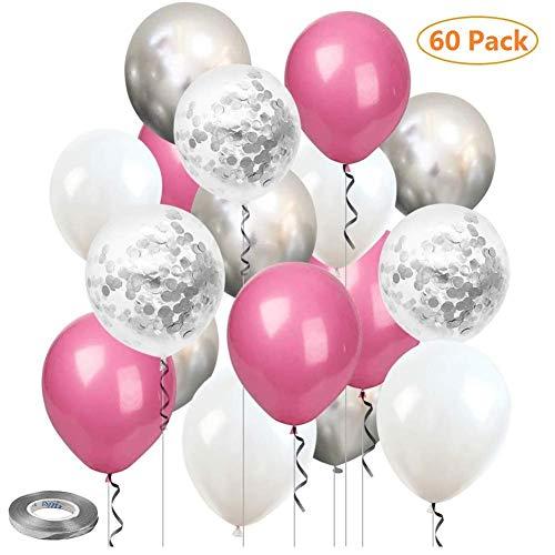 Sinwind Luftballons Rosa, 60 Stück Luftballons Silber Konfetti, Luftballons Rosa Weiß, Hochzeit Hochzeitsballons, Helium Balloons, 12 Zoll Latex Luftballons für Geburtstag Hochzeit Taufe