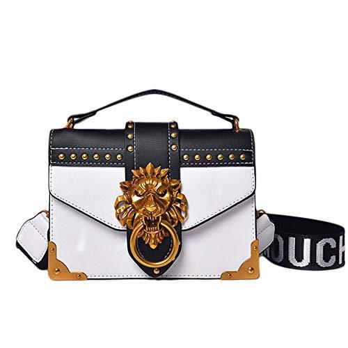 Hihey Umhängetasche der Frauen Schultertasche Handtasche PU Leder zufälliger Joker Mode einfache Damen Tasche Metall Löwenkopf Dekoration kleine quadratische Tasche